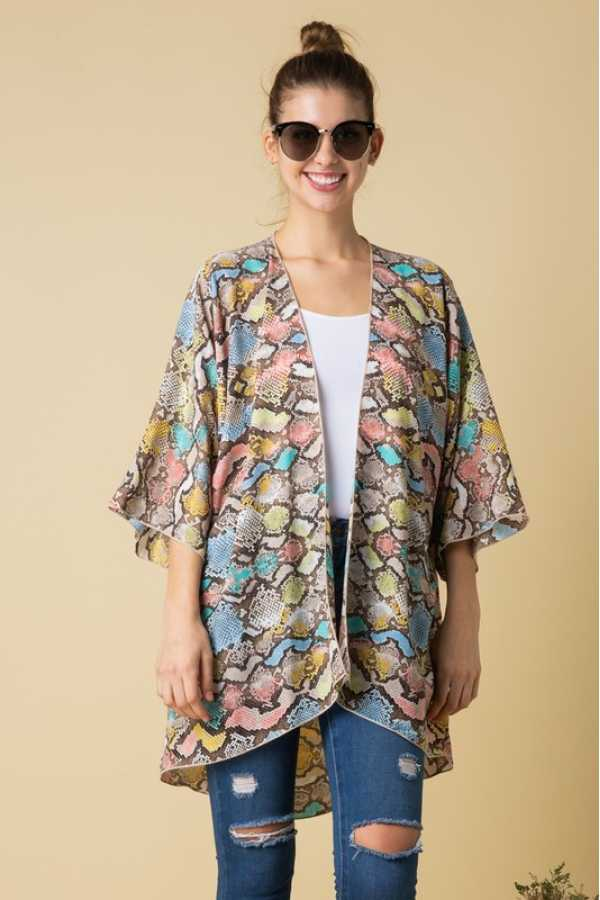 PLUS SIZE-LOOSE FIT MULTI COLOR CARDIGAN